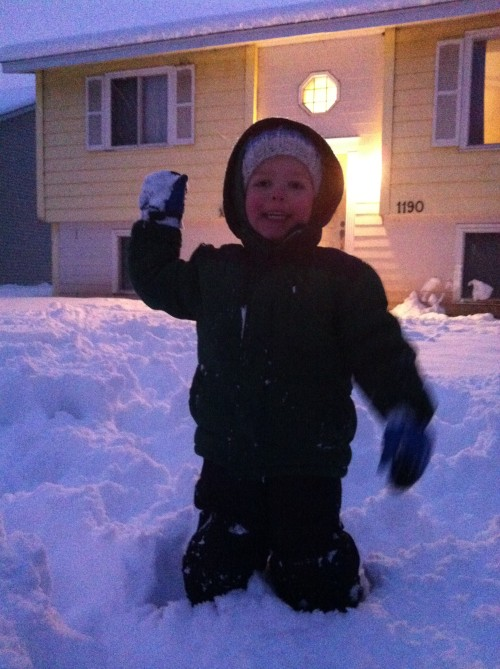 Eli and I had a snowball fight. Neither one of us could hit the broad side of a barn. :-)