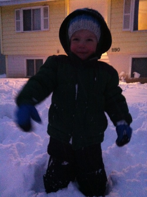Eli and I had fun with our snowball fight. No one was hurt, because no one could hit each other. :-)
