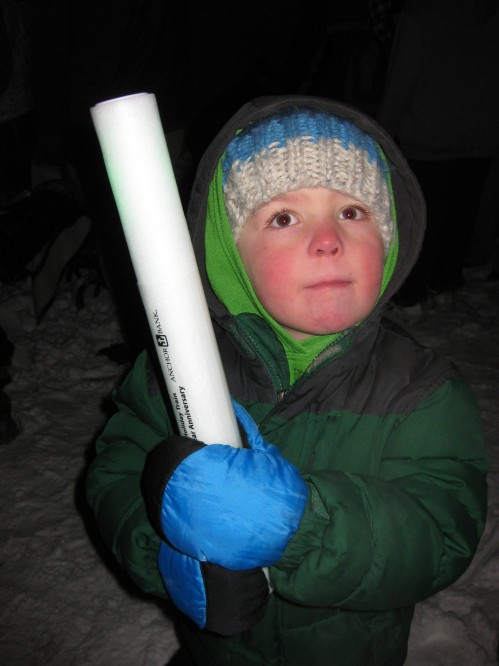 "The boys got glow sticks. Eli was dancing with his glow stick and ""sword fighting"" in the air."
