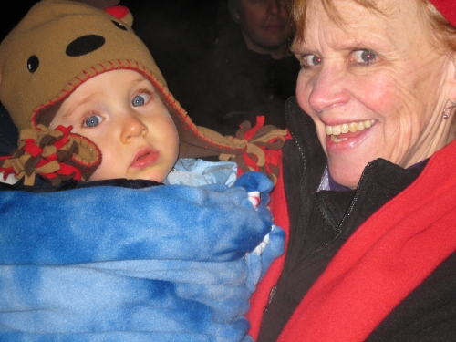 Grandma Kim and Caleb snuggles. Grandma wanted to keep holding Caleb, I think she just wanted to be warm.