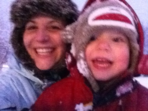 Mommy and Noah snuggling in the snow. We had fun playing outside.