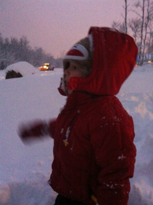 Noah loved watching all the vehicles go by, especially the trucks with plows on the front.