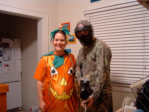 Halloween - the first time I've ever been able to naturally fill out my pumpkin costume. Dave was my personal sniper - didn't want those bunnies to be nibbling on me.