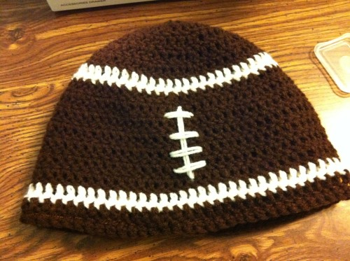 Hat - football hat without ear-flaps.